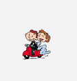 couple of newlyweds riding a red motorcycle vector image vector image