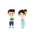 cute thai couple on floating flowers loy krathong vector image vector image