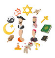 different religions cartoon icons set vector image vector image