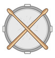 drum and drumsticks icon cartoon style vector image vector image