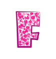 english pink letter f on a white background vector image vector image