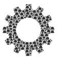 gearwheel composition of gentleman hat icons vector image