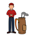 Golf player with clubs bag avatar character vector image