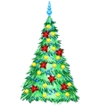 Green Christmas tree with ornaments vector image vector image