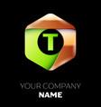 green letter t logo in the golden-green hexagonal vector image