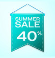 green pennant with inscription summer sale forty vector image