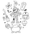 Halloween mummy doodle art vector image vector image
