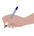 hand with a ball pen vector image vector image