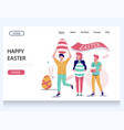 happy easter website landing page design vector image