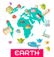Houses - Fish and Birds on Globe - Earth vector image