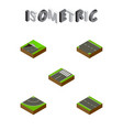 isometric way set of downward road single-lane vector image vector image