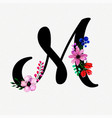 letter m watercolor floral background vector image vector image