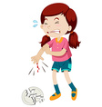 Little girl cut her finger vector image vector image