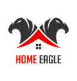 logo two eagle heads and houses vector image vector image