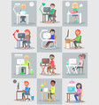 man and woman work in office at computer set vector image