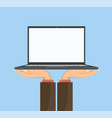 man holds a laptop with a white blank screen vector image vector image
