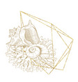 marine wreath seashell sea corals gold line art vector image vector image