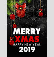 merry christmas and happy new year 2019 black vector image vector image