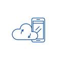 mobile cloud data line icon concept mobile cloud vector image vector image