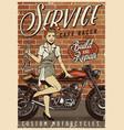 motorcycle repair service vintage poster vector image vector image