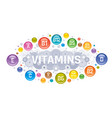 multi vitamin complex icons vitamin a b group vector image