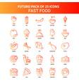 orange futuro 25 fast food icon set vector image