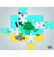 Puzzle a frog resting on holidays vector image vector image