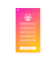 register form mobile ui design vector image