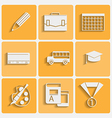 school theme icons set vector image