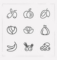 set of berry icons line style symbols with acai vector image