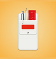 set of school stationery in a white school pocket vector image