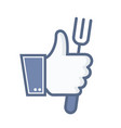 thumb up with fork icon on white background vector image