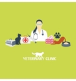 Veterinary clinic banner with cat and laboratory vector image vector image