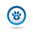veterinary icon with paw vector image vector image