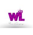 wl w l dots letter logo with purple bubbles vector image