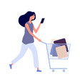 woman shopping sale season isolated flat style vector image vector image