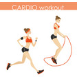 young pretty woman running and jumping rope vector image vector image