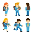 Pupils with textbooks vector image