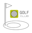 Golf ball hole for game Flat color icon Sports vector image