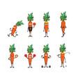 set of funny carrots doing sport cartoon vector image