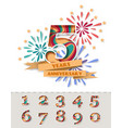 5 year anniversary greeting card poster vector image