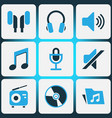 audio colored icons set collection of headset vector image vector image