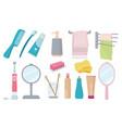 bathroom accessories toothbrush paste hygiene vector image