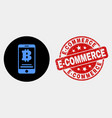bitcoin mobile account icon and grunge e vector image vector image