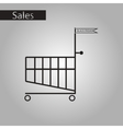 black and white style icon Shopping Cart vector image vector image