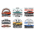 car tuning restoration and repair service icons vector image vector image