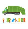 cartoon working with garbage icon set vector image vector image