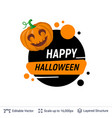 carved pumpkin jack lantern and halloween text vector image vector image