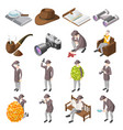 classic detective isometric icons vector image vector image