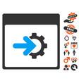 cog integration calendar page icon with valentine vector image vector image